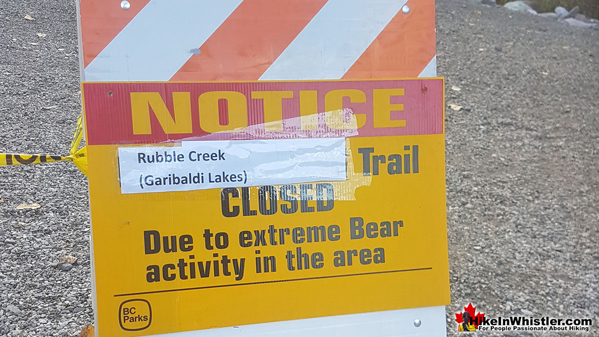 Rubble Creek Garibaldi Trailhead Closed