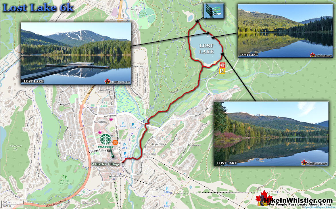 Lost Lake Run in Whistler Map