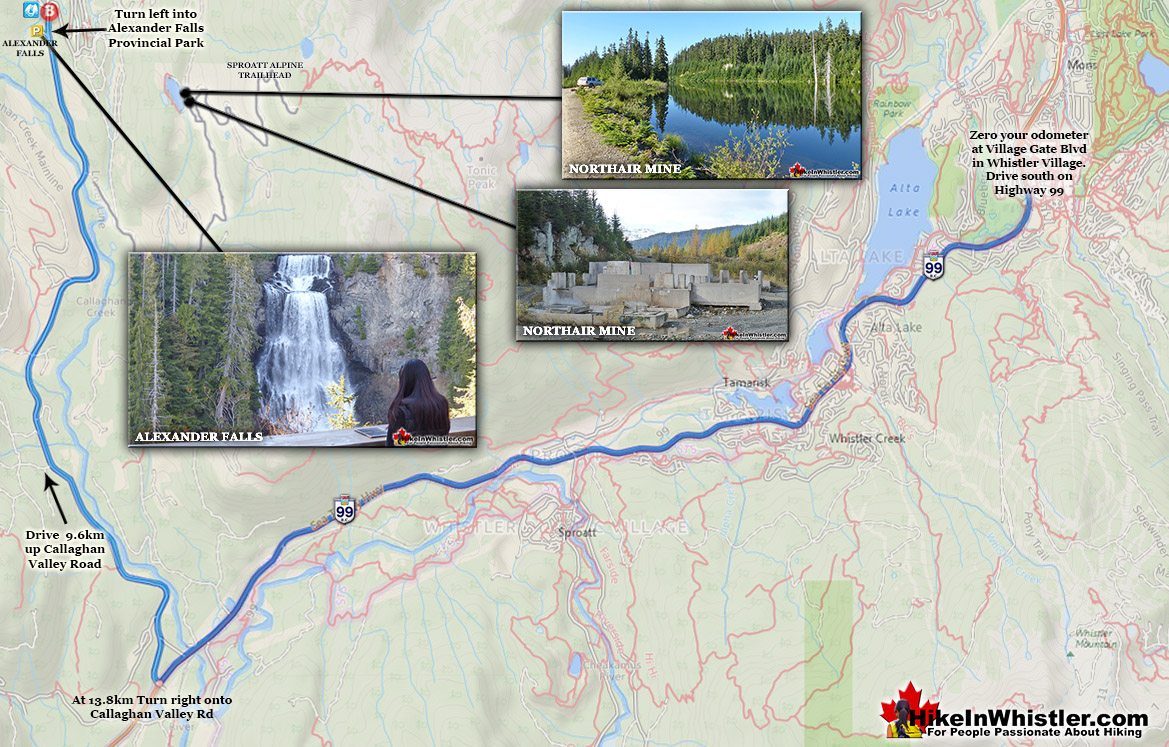 Alexander Falls Driving Directions Map