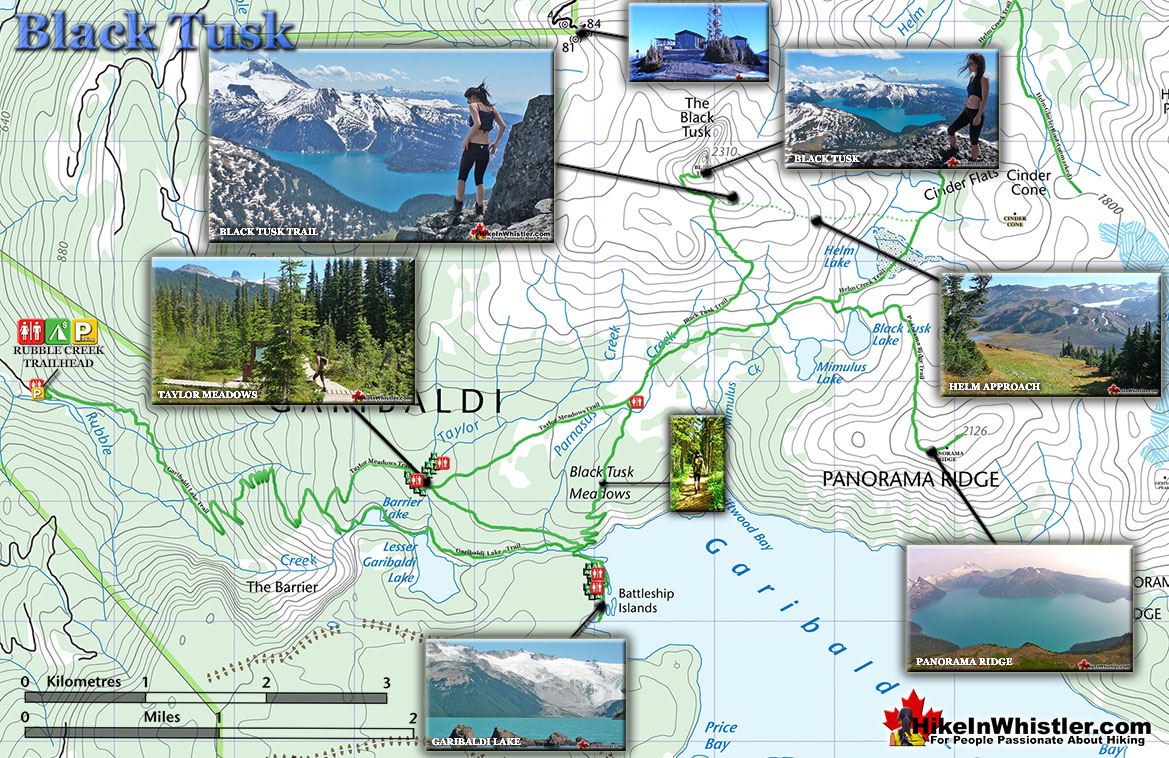 Black Tusk Map - Hike in Whistler