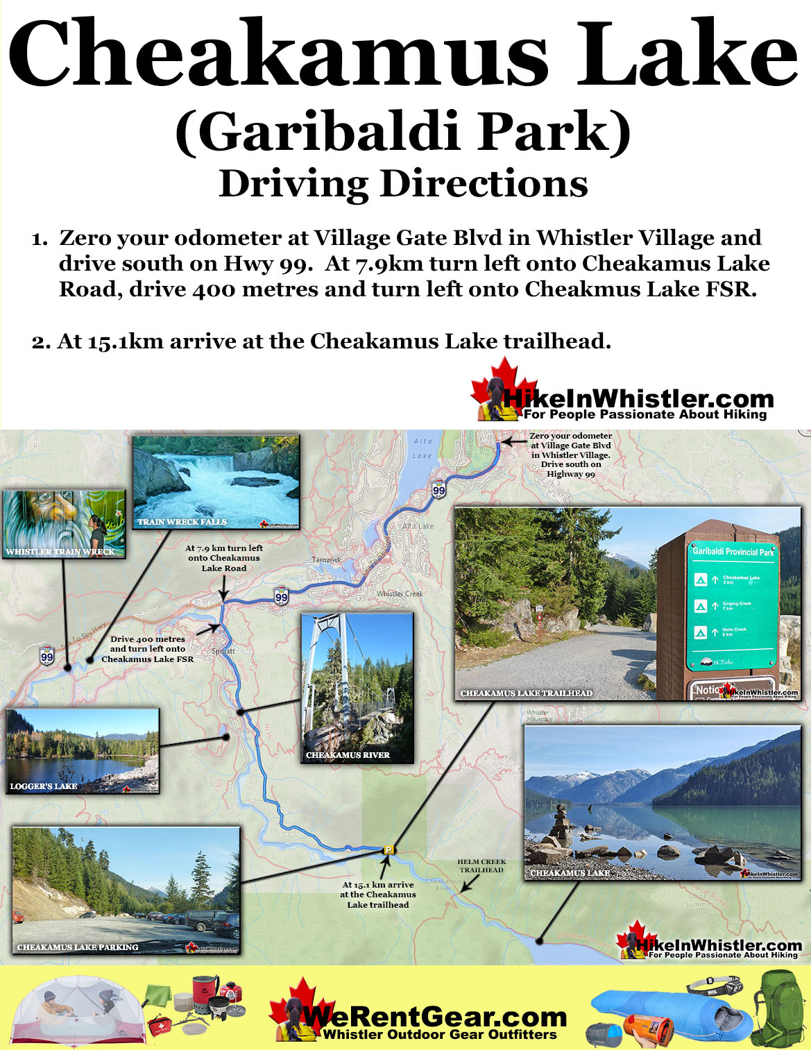 Cheakamus Lake trailhead directions map