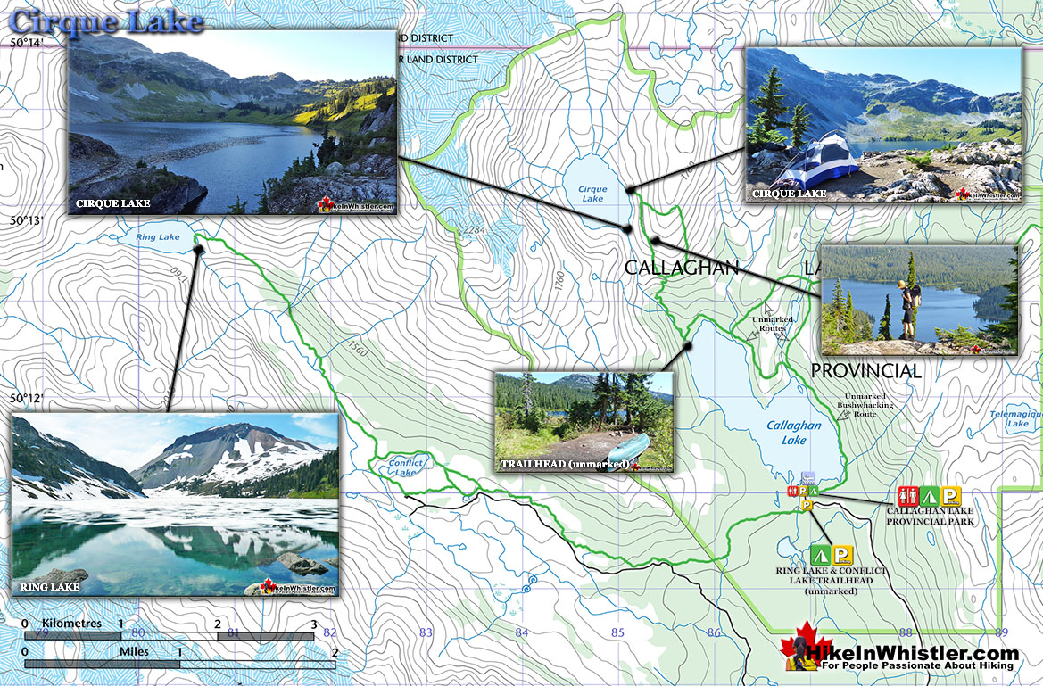 Best Hiking in Whistler Cirque Lake Map