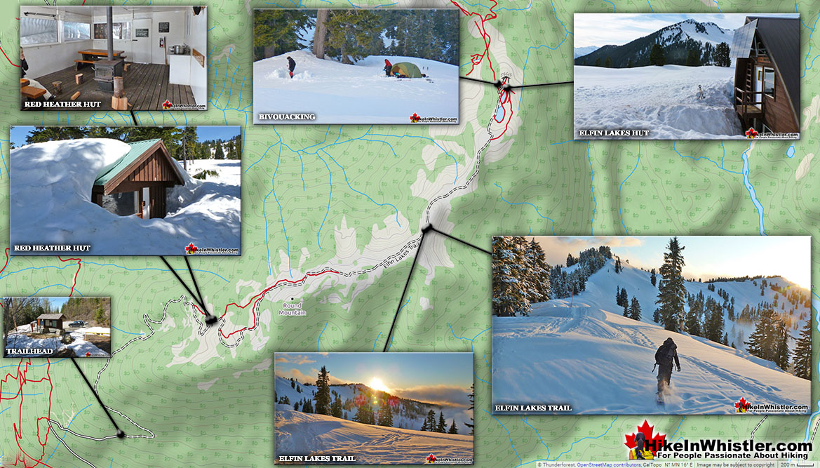 Elfin Lakes Snowshoe Map