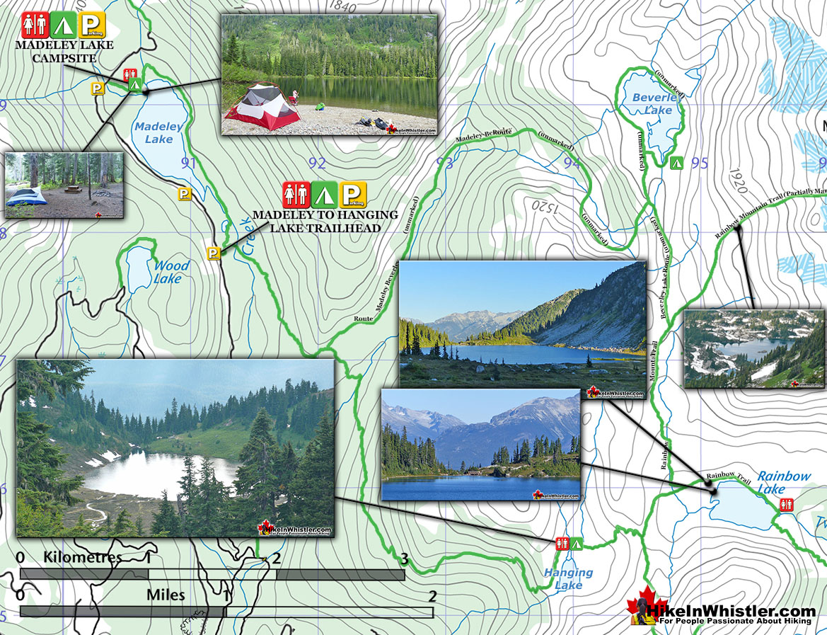 Madeley Lake to Hanging Lake Topo Map