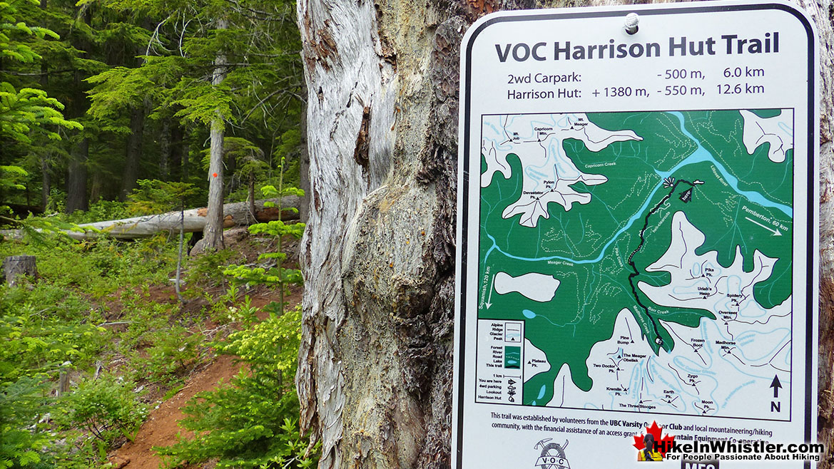 Meager/Harrison Hut Trailhead Sign