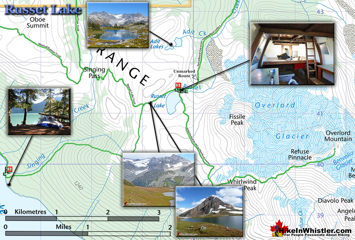 Russet Lake Map - Hike in Whistler