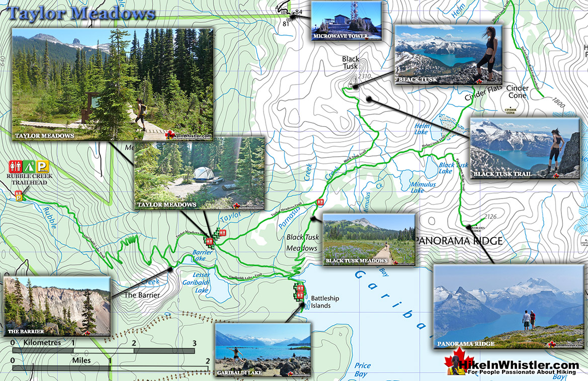 Taylor Meadows Trail Map - Hike in Whistler