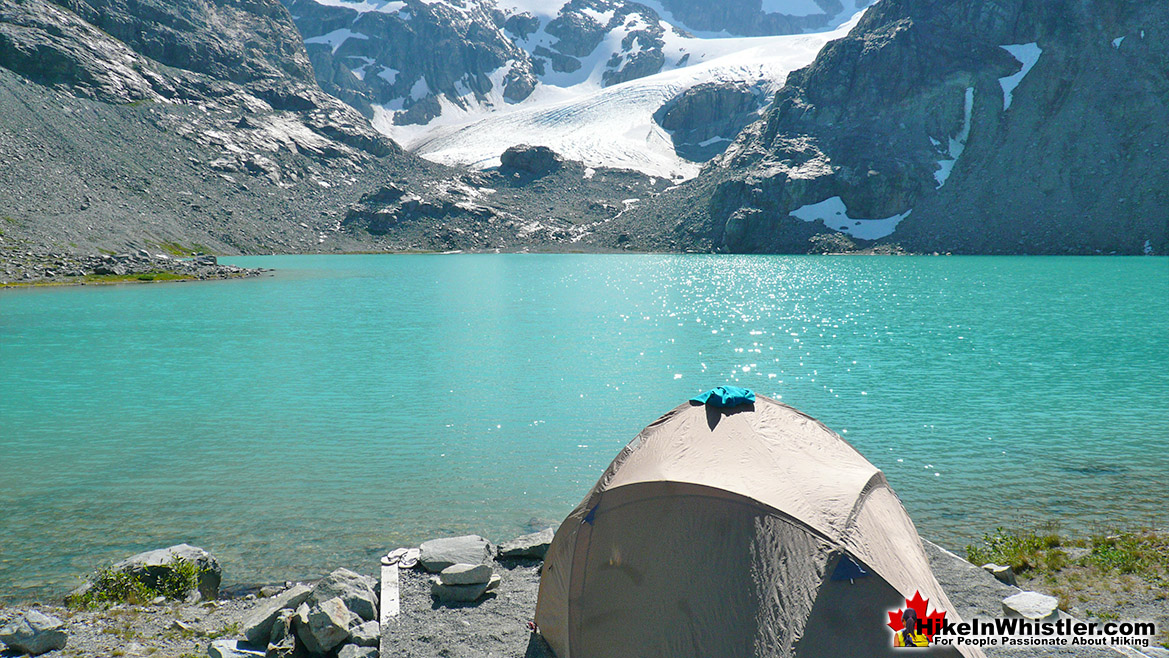Wedgemount Lake Tent View of Glacier
