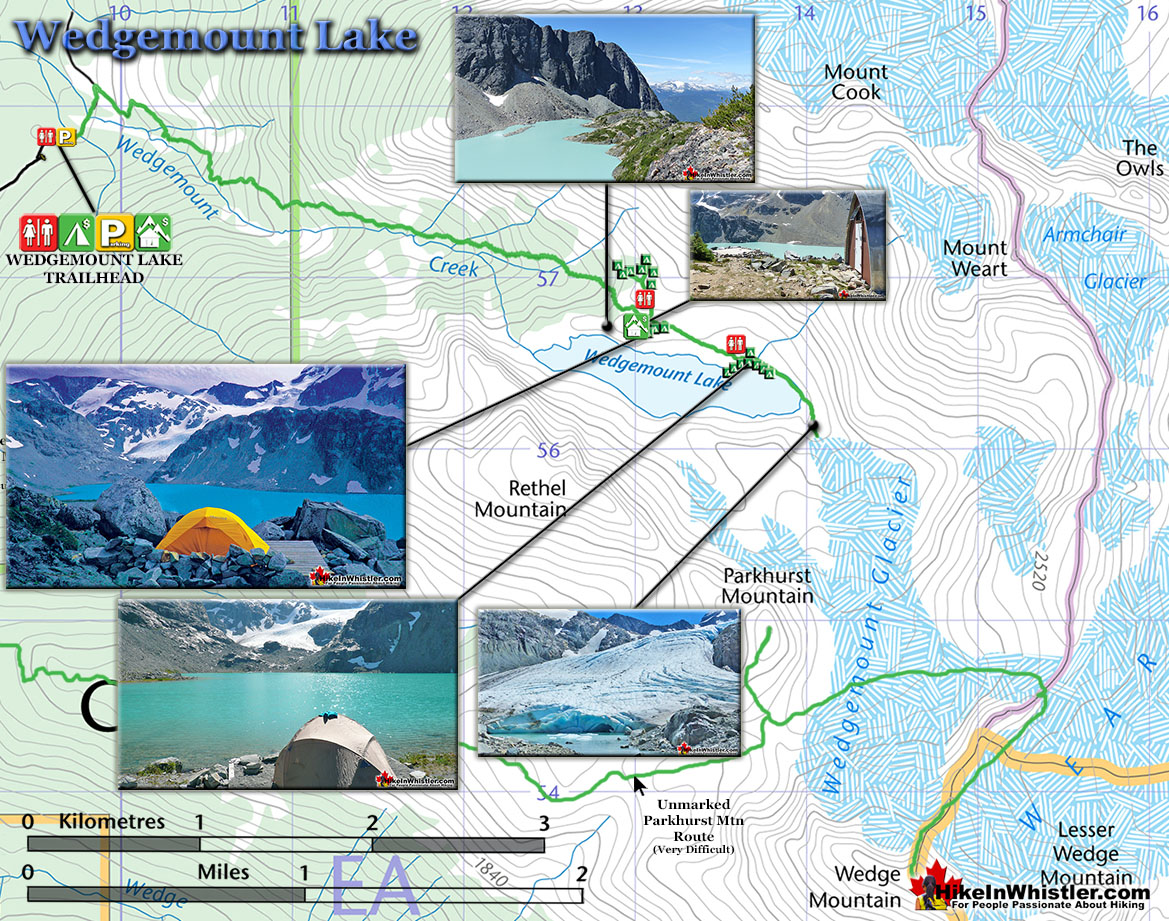 Wedgemount Lake Trail Map