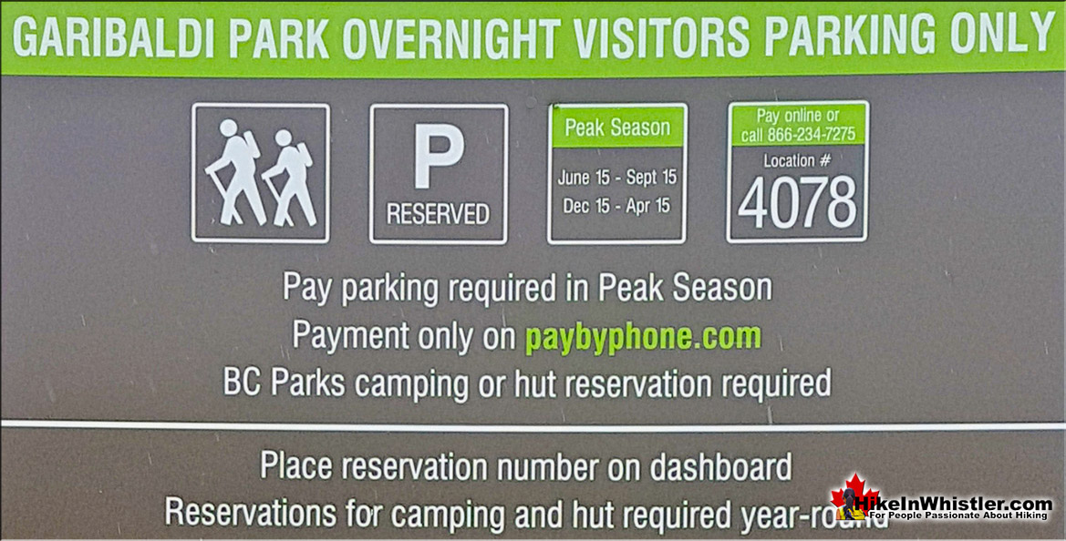 Overnight Parking Sign in Lot 4 for Singing Pass